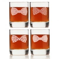 Bowties Collection Rock Glasses (Set of 4)