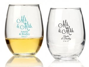 Mr. and Mrs. Personalized 15 oz Stemless Wine Glass image