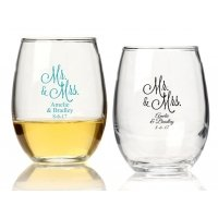 Mr. and Mrs. Personalized 15 oz Stemless Wine Glass