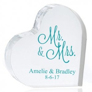 Mr. and Mrs. Personalized Heart Cake Topper image