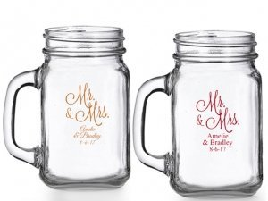 Mr. and Mrs. Personalized Mason Glasses image