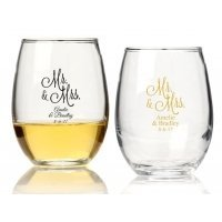 Mr. and Mrs. Personalized 9 oz Stemless Wine Glass