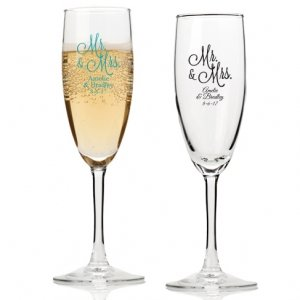 Mr. and Mrs. Personalized Champagne Flutes image