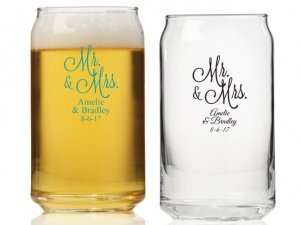 Mr. and Mrs. Personalized Can Glass image