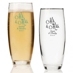Mr. and Mrs. Personalized Stemless Champagne Glass image