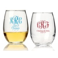 Intertwined Monogram Personalized 15 oz Stemless Wine Glass