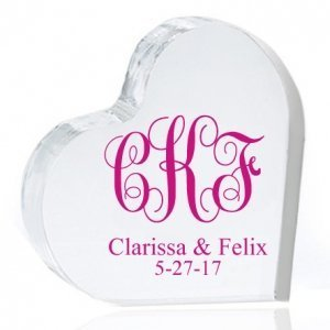 Intertwined Monogram Personalized Heart Cake Topper image