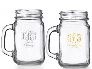 Intertwined Monogram Personalized Mason Glasses image