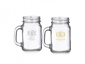 Intertwined Monogram Personalized Mini Mason Glass image