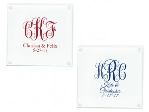 Intertwined Monogram Personalized Glass Coasters Favors image