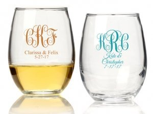 Intertwined Monogram Personalized 9 oz Stemless Wine Glass image