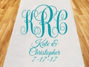 Intertwined Monogram Personalized Wedding Aisle Runner image
