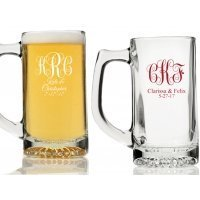 Intertwined Monogram Personalized Beer Mugs