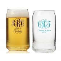Intertwined Monogram Personalized Can Glass