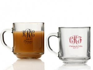 Intertwined Monogram Personalized Glass Coffee Mugs image