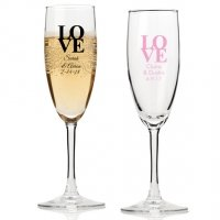 Love Personalized Champagne Flutes