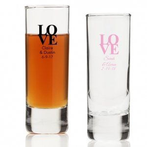 Love Never Ends Personalized Tall Shot Glass image