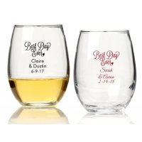 Best Day Ever Personalized 9 oz Stemless Wine Glass