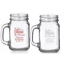 Eat Drink Be Married Personalized Mason Glasses