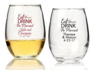 Eat Drink Be Married Personalized 9 oz Stemless Wine Glass image
