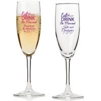 Eat Drink Be Married Personalized Champagne Flutes
