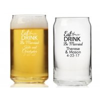 Eat Drink Be Married Personalized Can Glass