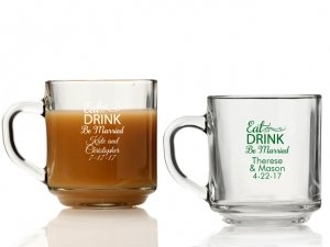 Eat Drink Be Married Personalized Glass Coffee Mugs image