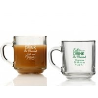 Eat Drink Be Married Personalized Glass Coffee Mugs