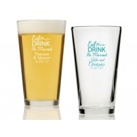 Eat Drink Be Married Personalized 16 oz Pint Glass