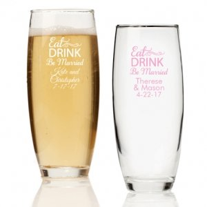 Eat Drink Be Married Personalized Stemless Champagne Glass image