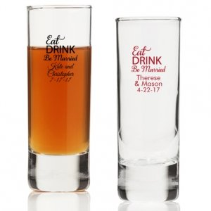 Eat Drink Be Married Personalized Tall Shot Glass image