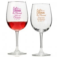 Eat Drink Be Married Personalized Wine Glass