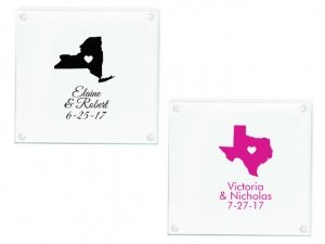 State Love Personalized Glass Coasters Favors image