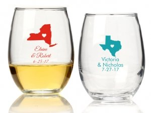 State Love Personalized 9 oz Stemless Wine Glass image