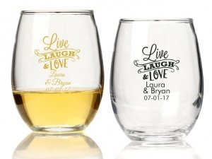 Live Laugh and Love Personalized 9 oz Stemless Wine Glass image