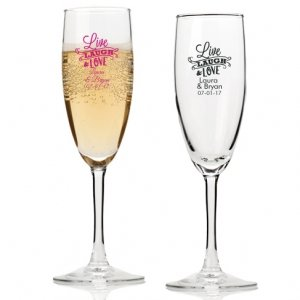 Live Laugh and Love Personalized Champagne Flutes image