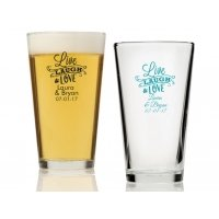 Live Laugh and Love Personalized 16 oz Pint Glass