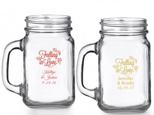 Falling in Love Personalized Mason Glasses image