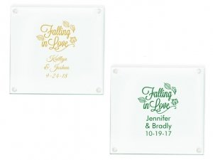 Falling in Love Personalized Glass Coasters Favors image