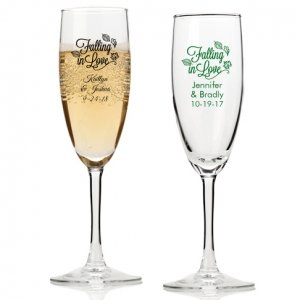 Falling in Love Personalized Champagne Flutes image