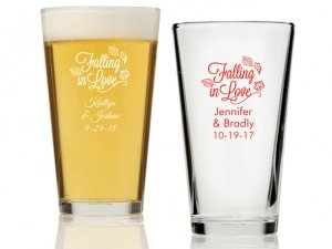 Falling in Love Personalized 16 oz Pint Glass image