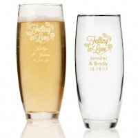 Falling in Love Personalized Stemless Champagne Glass