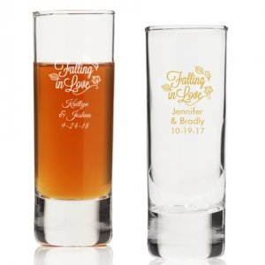 Falling in Love Personalized Tall Shot Glass image