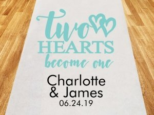 Two Hearts Become One Personalized Aisle Runner image