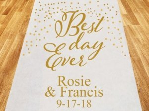 Best Day Ever Personalized Wedding Aisle Runner image