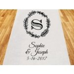 Rustic Wreath Personalized Wedding Aisle Runner
