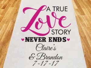 A True Love Story Personalized Wedding Aisle Runner image