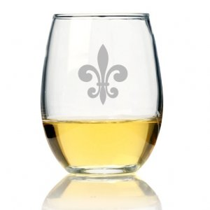 Fleur de Lis Glass Stemless Wine Glass (Set of 4) image