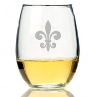 Fleur de Lis Glass Stemless Wine Glass (Set of 4)