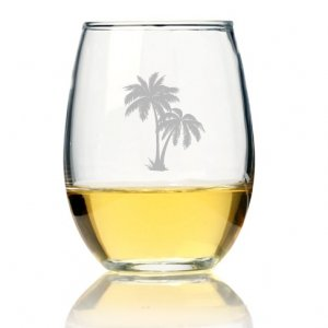 Palm Tree Mason Stemless Wine Glass (Set of 4) image
